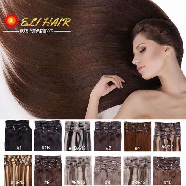 """ELI Productos Para el Cabello 24 """"(60 cm) 70g-120g 20 Colores Larga Recta Del Pelo Humano Ins Clip Remy Clip En la Extensión Del Pelo de NOVIA ELI11"""