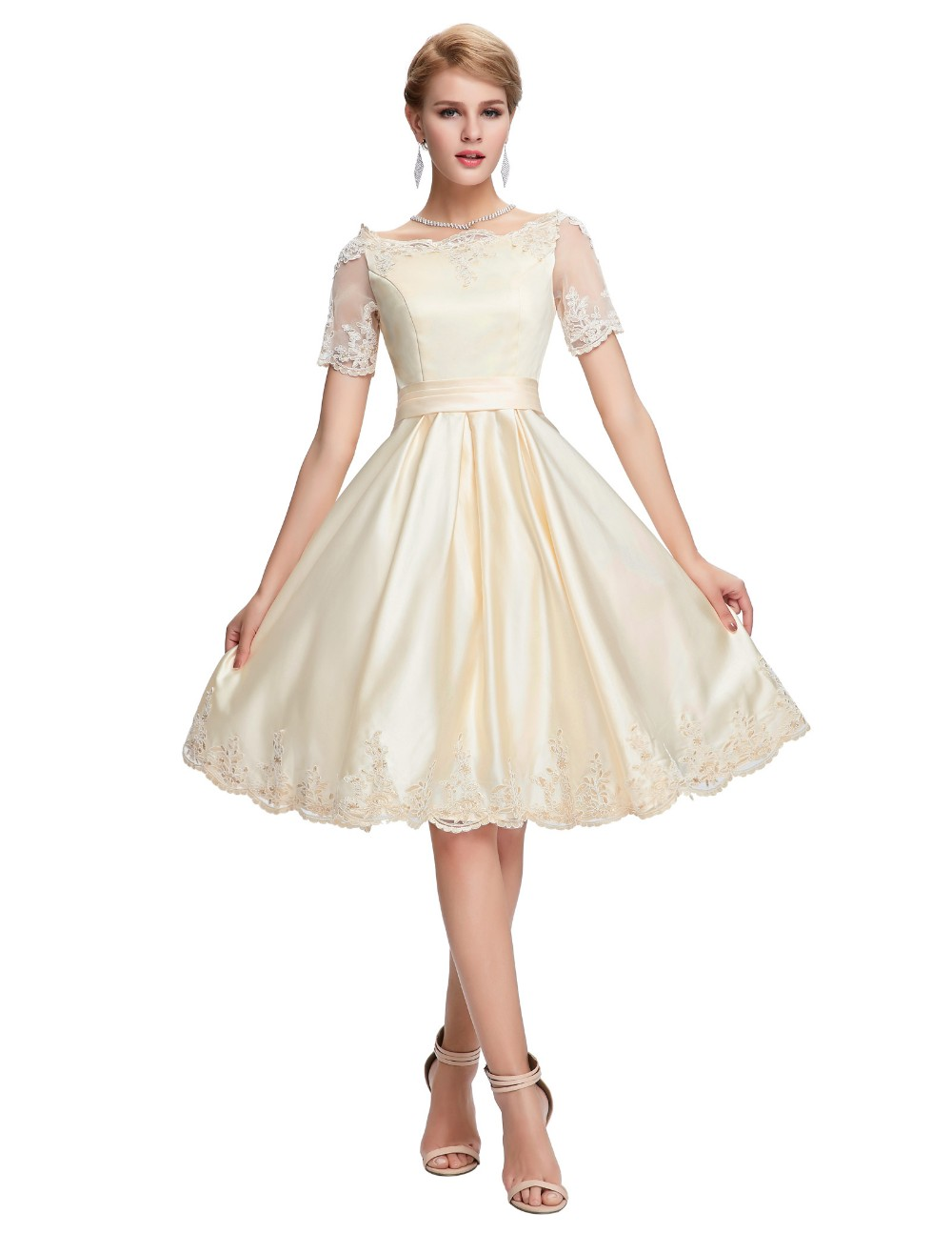 Short Cocktail Dresses 2018 Grace Karin Off The Shoulder robe de Cocktail Wedding Party Dress Satin Champagne Red Coctail Dress 10