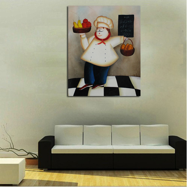 Handpainted Animation Oil Painting Lovely Art Abstract Happy Cook Paintings On Canvas Wall Sticks