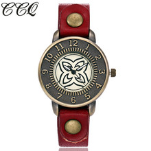 2017 Vintage Fashion Creative Watch Genuine Cow Leather Quartz Watch Casual Women Wristwatches Female Clock Drop Shipping