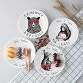 Top Animal Dos Desenhos Animados do Osso China Pratos E Placas De Bolo Pastelaria Bandeja de Frutas Da Porcelana Louças de Cerâmica Para Crianças Bife Jantar