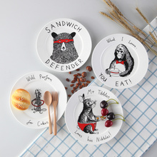 Top Cartoon Tier Bone China Papier-kuchen-teller Und Platten Porzellan Backwaren Obst Keramik Geschirr Für Kinder Steak Abendessen