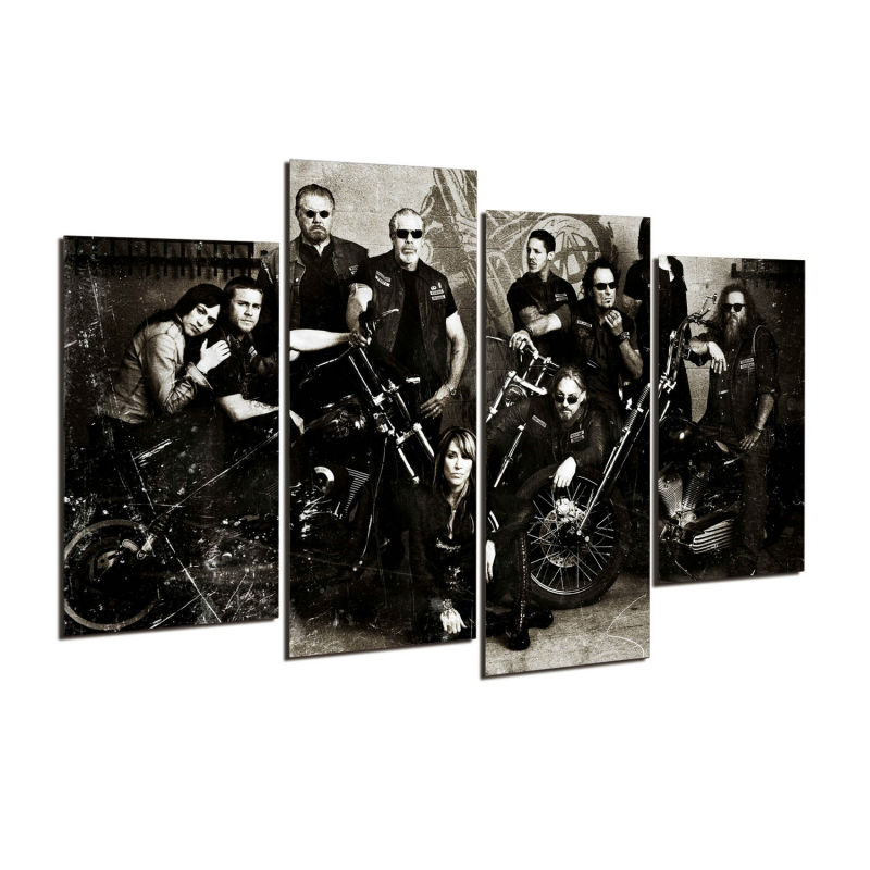 4 Teile/satz Gerahmte HD Gedruckt TV Serie Soa Samcro Bild Wandkunst ...