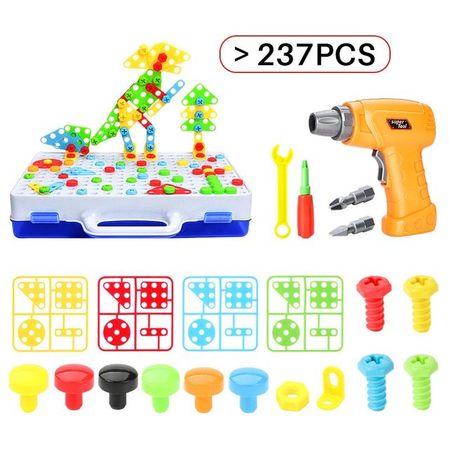 Kids Drill Screw Nut Building block Toys Creative Educational Toys Plastic Assembled Mosaic Design Tools Kit Toys Drill Boys Toy