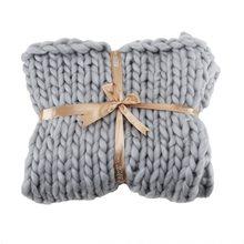 Manta de punto grueso hecha a mano, grande, suave, cálida, para cama de invierno, sofá, manta gruesa de lana de Merino, manta de tejer voluminosa