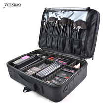 цена на YCBXBAO Waterproof Cosmetic Bag Professional Cosmetic Makeup Bags and Cases Large Capacity Storage Case Multilayer Suitcases