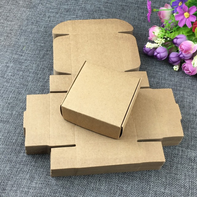 50PCSLot Kraft Gift Boxes Blank Paper Box Carry Case Cardboard