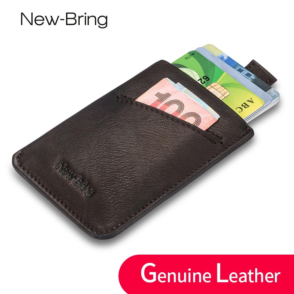 NewBring Små Äkta Läder Koppling Plånbok Män Kreditkort & ID Innehavare Fame Compact Mini Purse Kontant Kvinnor Kort Hållare Ärm