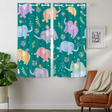 Blackout Curtains 2 Panels Grommet for Bedroom Cute Elephant Bird Flower Cartoon Green