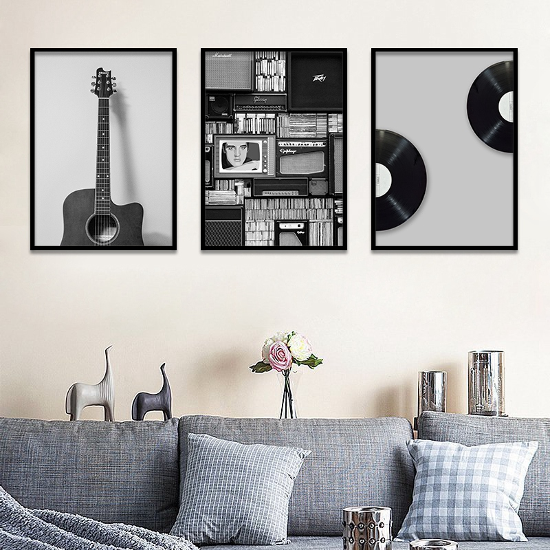 Us 3 99 20 Off Retro Black Design Art Poster Record Guitar Radio Music Canvas Wall Painting For Nordic Wall Decoration Home Decor Frameless In
