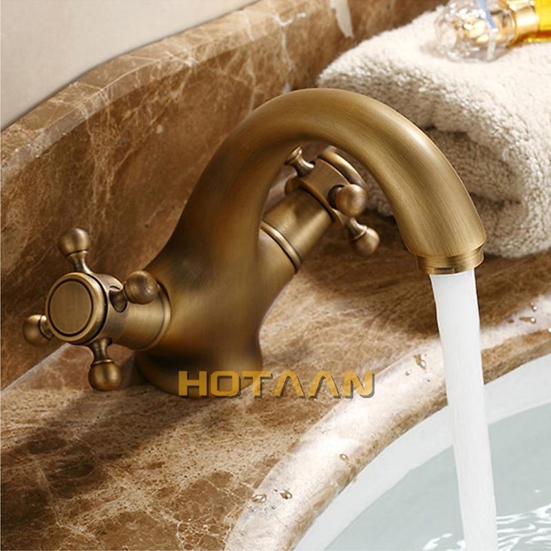 HTB1 oshlm3PL1JjSZFtq6AlRVXap HOTAAN Solid Brass Bronze Double Handle Control Antique Faucet Kitchen Bathroom Basin Mixer tap Robinet Antique YT-5021