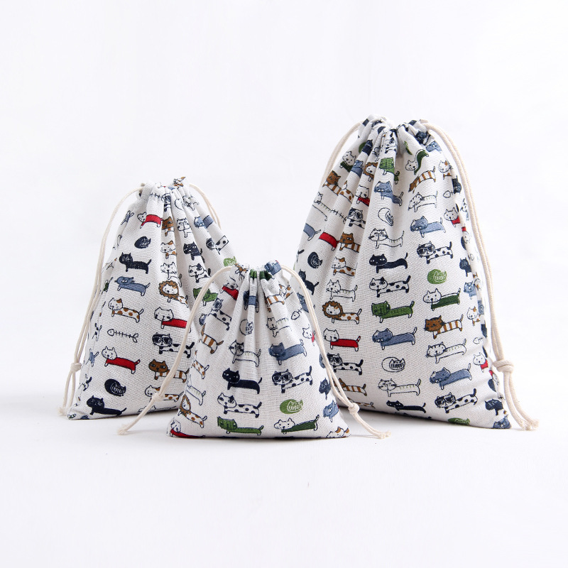 YILE 1pc Handmade Cotton Linen Drawstring Party Gift Bag Multi-purpose Pouch Print Fish Bone Cat 8129f