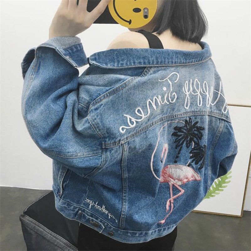 LG 2017 spring female jean font b jacket b font casual double pocket decorated denim font