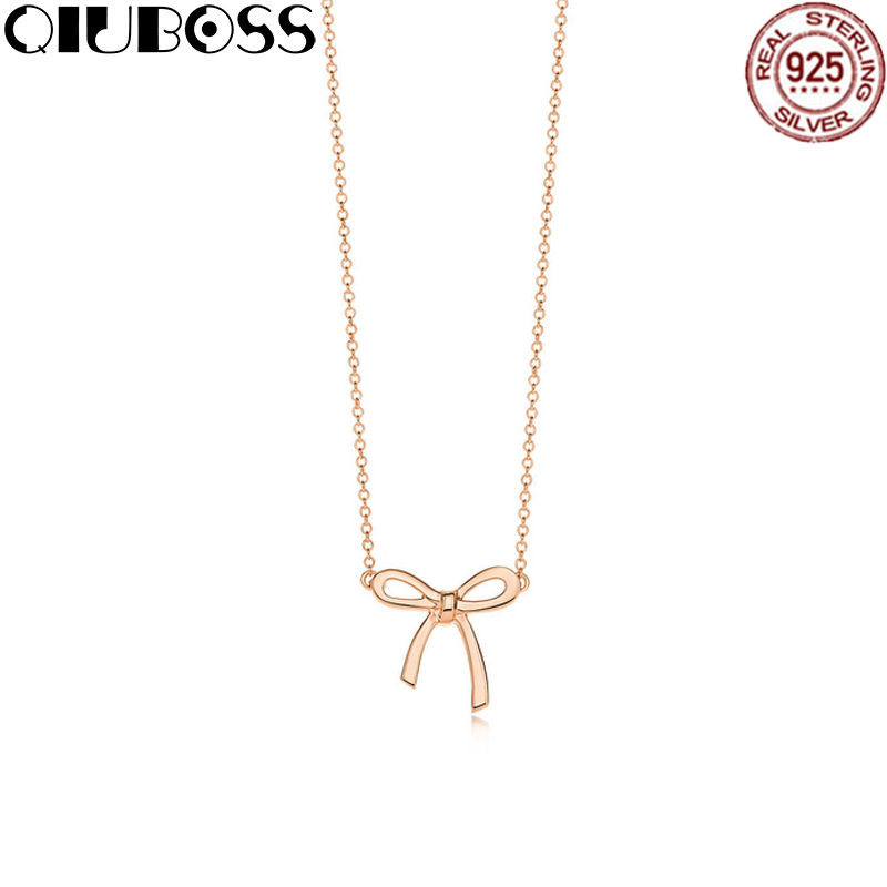 QIUBOSS TIFF 925 Sterling Silver bowknot Rose gold tone Pendant Necklace Clear CZ Women Pendants Jewelry alloy rose flower pendant necklace
