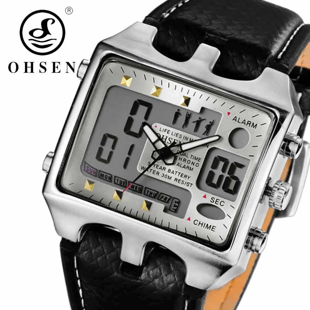 OHSEN Brand Digital Quartz Sport Watch Wristwatches Mens Leather Strap Fashion White Waterproof Outdoor Casual Hand Wathes Hours