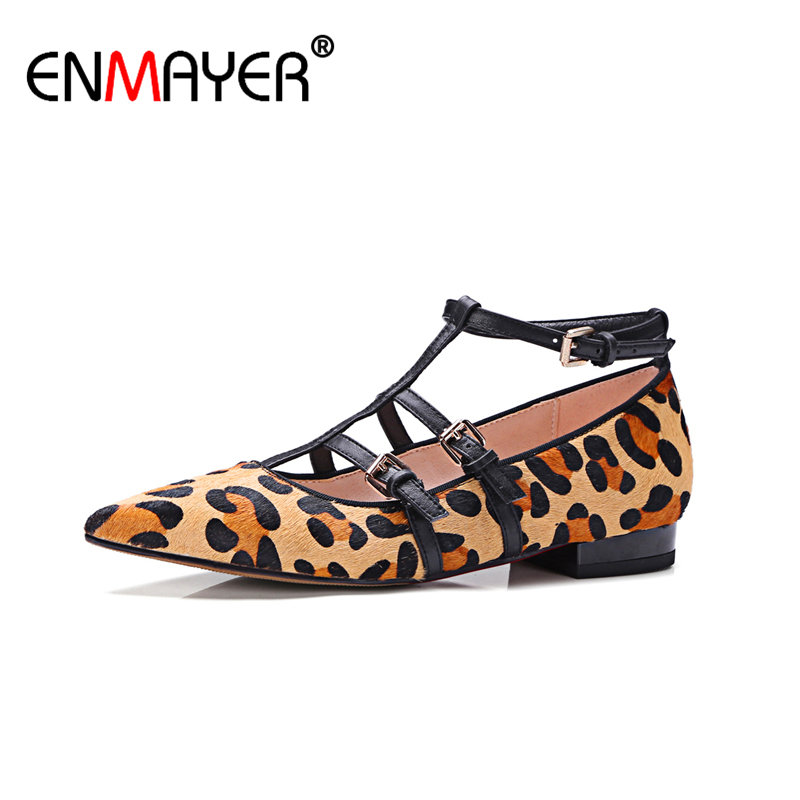 ФОТО ENMAYER Plus Size 43 Genuien Leather Shoes Women Sexy Leopard Buckle Flock Pointed Toe Rome Fashion Women Flats Casual All-match