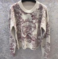 Роскошный шерстяной трикотаж с красными животными лес вышитые трикотаж воротник наивысшего качества свитера женские