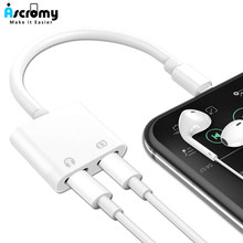 Ascromy Dual Splitter Connector For iPhone 7 8 Plus X XS Max XR 2In1 Headphone Jack Audio Charge Cable Adaptor Phone Accessories(China)