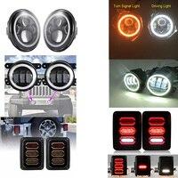 7 40W White Amber Halo Ring LED Headlight Rear Brake Reverse Tail Light Black 4 Inch