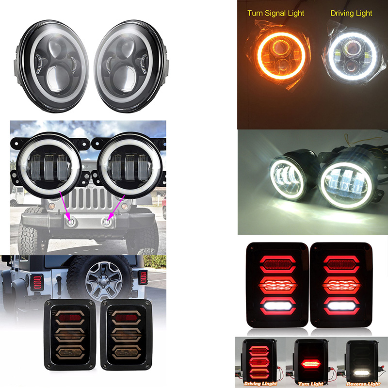 7 40W White/Amber Halo Ring LED Headlight + Rear Brake Reverse Tail Light+ Black 4 inch Led Fog Light For Jeep JK Wrangler