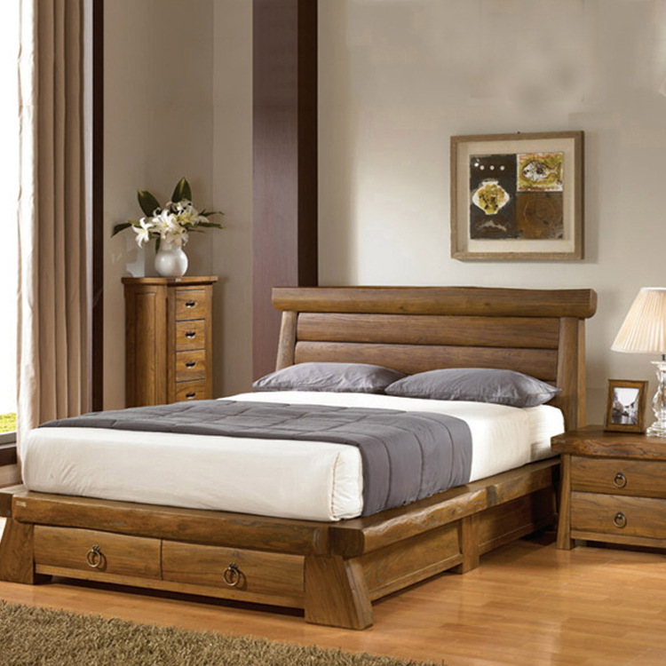[South Korea] Authentic Old Elm Wood Furniture, Bedroom Double Bed With  Storage Drawers Wooden Banchuang In Bedroom Sets From Furniture On  Aliexpress.com ...
