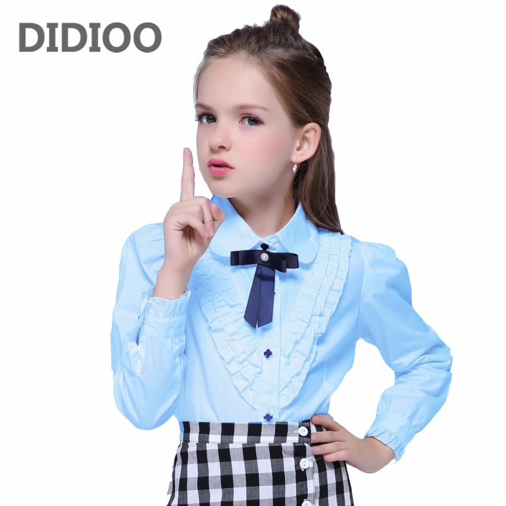 Teenage White Blouses For Girls Formal Clothes Turn-Down Collar Bow Shirts Girls School Uniforms 2017 Preppy Style Girls Blouses girl