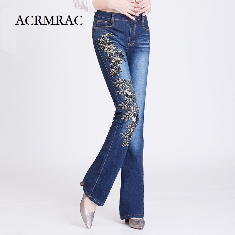 ACRMRAC Women s Clothing Spring and autumn Middle waist Elasticity Beading Ethnic style embroidery Flare Pants
