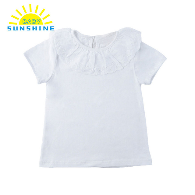24cdef9a8 New T-Shirts Girls Ruffle Top Tees Peter Pan Collar Short Sleeve Solid Girl  T Shirt Baby Clothes Kids Tshirt Children's Clothing