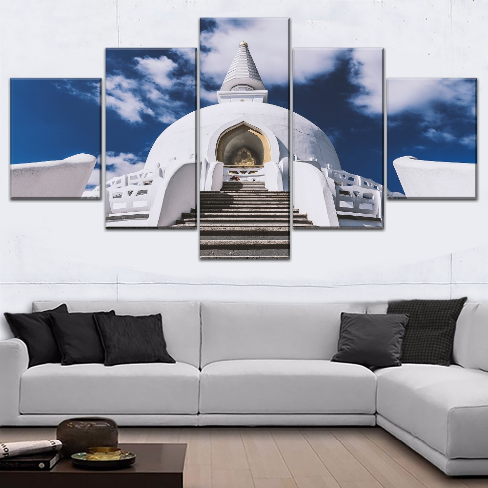 White Artistic Temple Architecture Asia Painting 5 Piece Style Picture Canvas Print Type Modern Home Decor Wall Artwork Poster