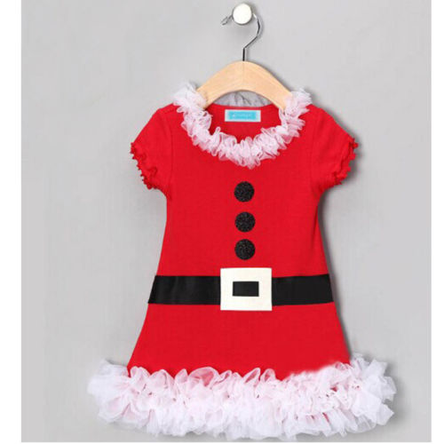 Baby Girl New Year Christmas Winter Lace Dress With Belt Santa Children Clothing Christmas Costume Outfits