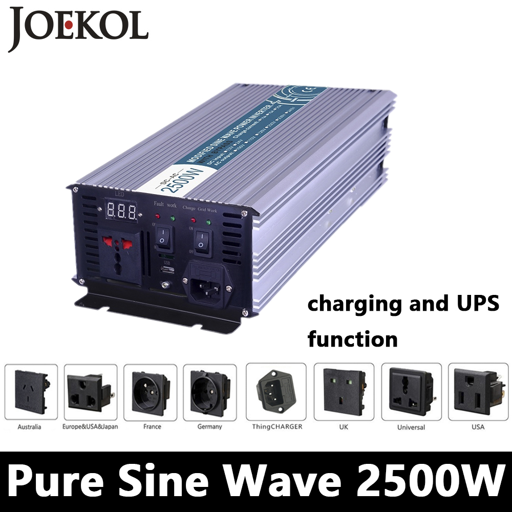 2500W Pure Sine Wave Inverter,DC 12V/24V/48V To AC110V/220V,off Grid Solar Power Inverter With Battery Charger And UPS 3000w wind solar hybrid off grid inverter dc to ac 12v 24v 110v 220v 3kw pure sine wave inverter