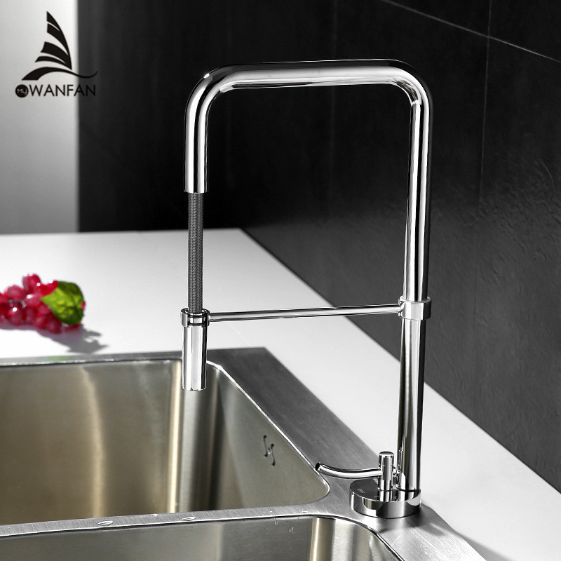 Kitchen Faucet Chrome Swivel Taps Pull Down Spayer Crane Deck Mounted Silver Modern Hot and Cold Mixer Cartridge Tap LT-801D flg kitchen faucet pull out deck mounted pull swivel 360 degree rotating cold and hot tap gold torneira dourada mixer tap 3023g