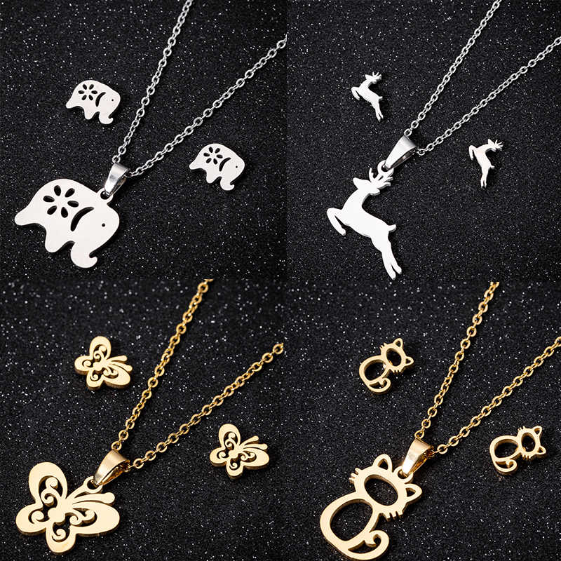 Women Necklaces Earrings Jewelry Set Christmas Necklaces Earrings Stainless Steel Jewelry Sets Animal Cat Deer Pendant Necklaces