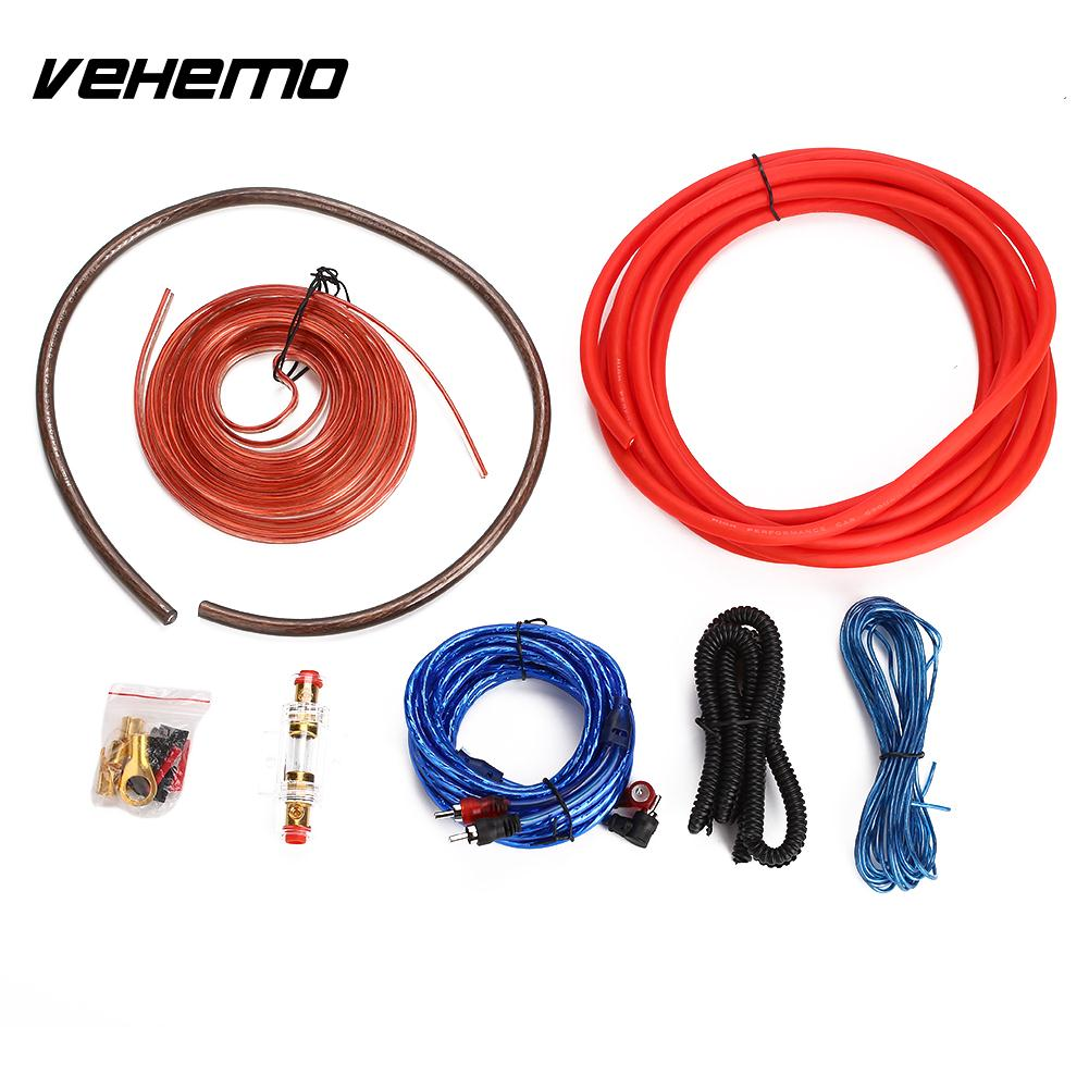 Vehemo 2000W 4 Gauge Amp Amplifier Cable Car Amplifier Installation Kits Speaker Amplifier Wire Subwoofer Woofer Pure Copper