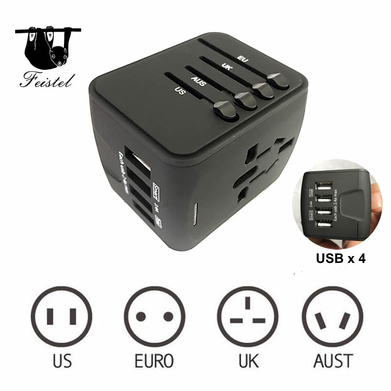 Feistel Universal Travel Adapter Electric Plugs Sockets Converter US/AUS/UK/EU with 4 USB Charging 2.4A 3.4A LED Power Indicator fast charging usb charger power travel adapter strip switch led display screen with 8 usb socket ports for us uk eu plug sockets