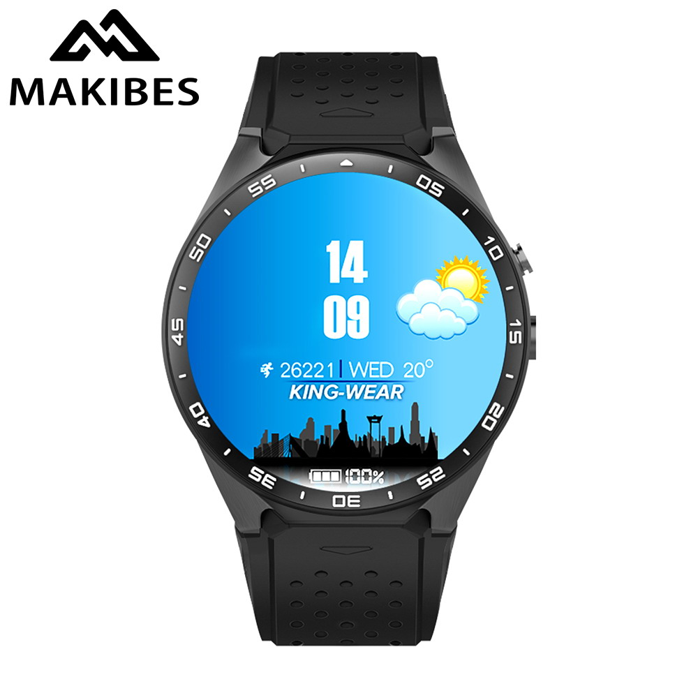 imágenes para Makibes kw88 smart watch android 5.1 bluetooth 3g wifi gps de la cámara smartwatch mtk6580 heart rate monitor mp3 mp4 512 mb/4 gb reloj