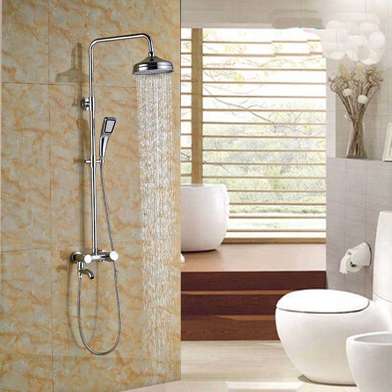 Chrome Brass Single Handle Shower Faucet Mixer Tap Wall Mount Bath Shower System with Handheld Shower china sanitary ware chrome wall mount thermostatic water tap water saver thermostatic shower faucet
