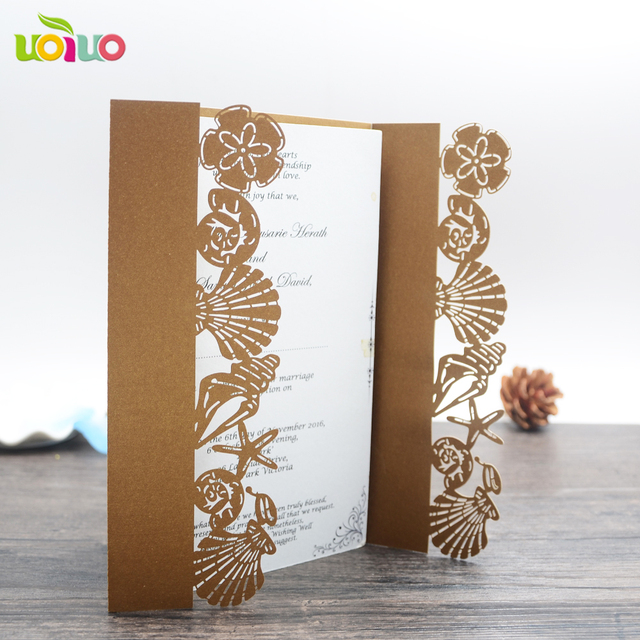 inc46 sea style lovely pink laser cut wedding invitation card kids