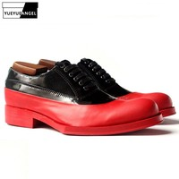 Luxury Mens Dress Shoes Genuine Leather Oxford Male Formal Footwear Man Red Wedding Man Shoe Mid Heels 3 5CM Plus Size US11.5
