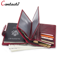 CONTACT S Genuine Leather Men Wallet Passport Cover Business Card Holder Organizer Mens Passport Holder Wallets