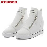 White Canvas Shoes Female Autumn Casual Elevator Women S High Shoes Zipper Flat Shoes