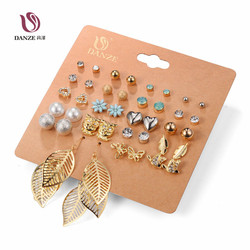 Danze punk 20 pairs pack set brincos mixed stud earrings for women crystal ear studs fashion.jpg 250x250