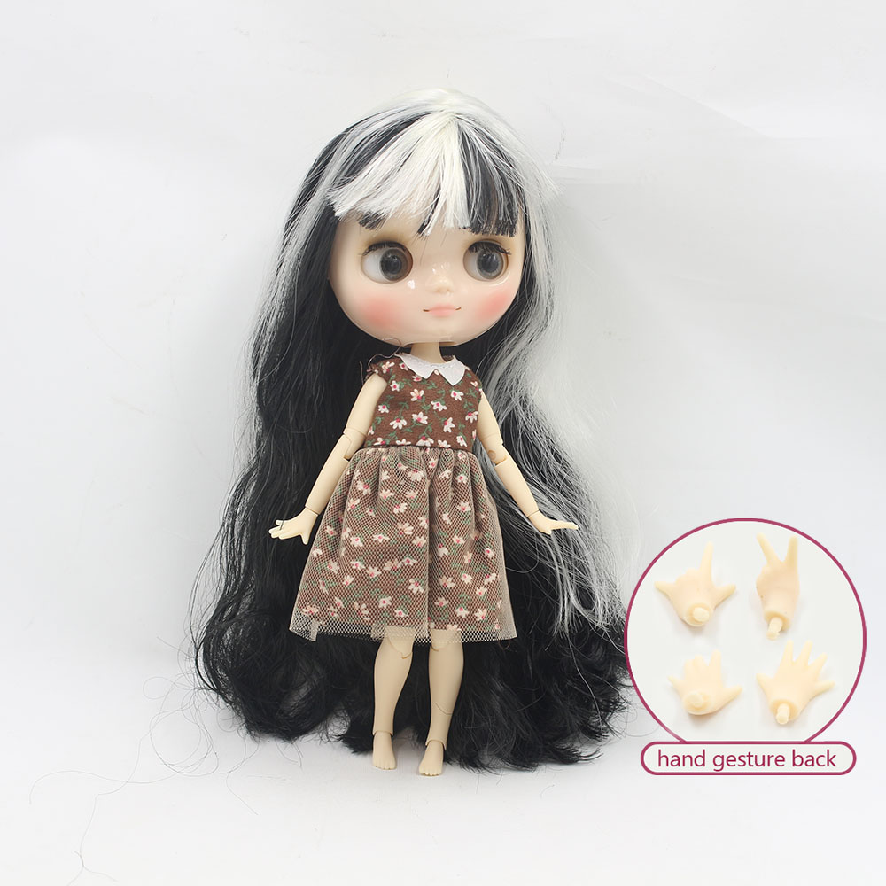 Nude middie blyth joint doll Black mix white hair Transparent face suitable DIY gift for girl like the icy doll middle blyth