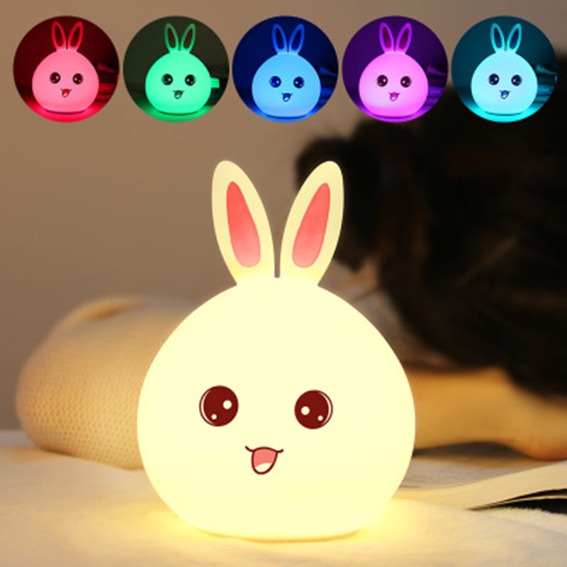 Newest style Rabbit LED Night Light For Children Baby Kids Bedside Lamp Multicolor Silicone Touch Sensor Tap Control Nightlight
