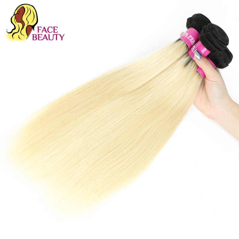 Facebeauty 1/3/4 pacote ombre peruano 2 tom 1b 613 raízes escuras platina loira pacote 8-28 polegada reta remy tecer cabelo humano