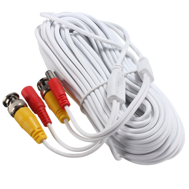 20m Security Video BNC DC Extension Lead Power Cable for CCTV Camera DVR System Black White Power Cable New Arrival