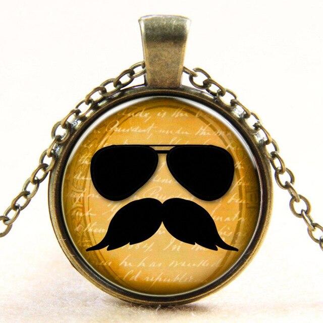 Fashion new vintage European style sunglasses frog mirror beard moustache retro dome art photo pendant necklace for man woman