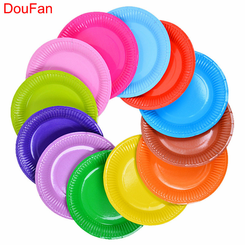 DouFan 10pcs 7inch Disposable Plates Solid Rainbow Color Disposable Tableware Happy Birthday Party Supplies Wedding Decoration
