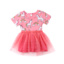 Baby Kids Girls Short Sleeve Unicorn Print Lace Tutu Party Pageant Dress Clothes