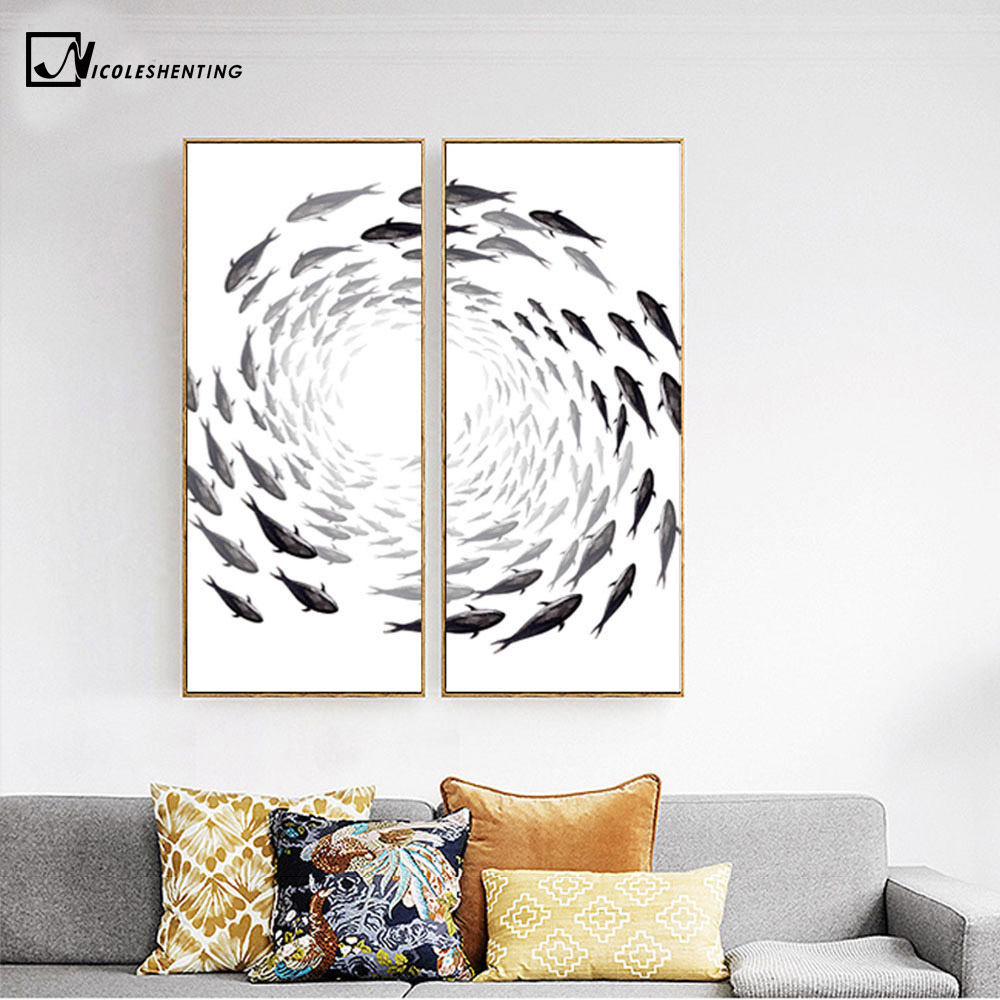 Zen poster design - Nordic Art Zen Fishes Canvas Poster Abstract Minimalist Art Painting Huge Print Trippy Wall Picture For Home Living Room Decor